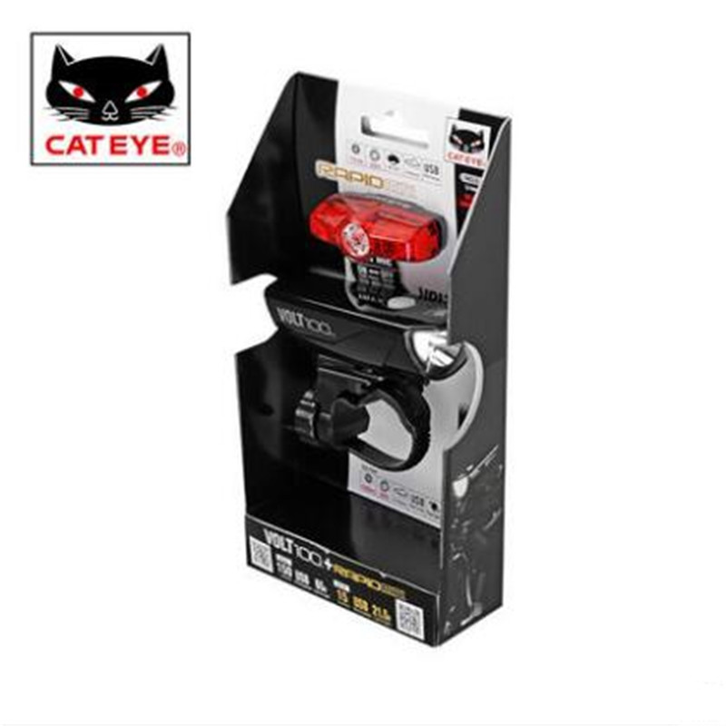 CATEYE VOLT100+RAPIDmini bicycle headlights + taillights set mountain bike accessories маяк findme f2 volt