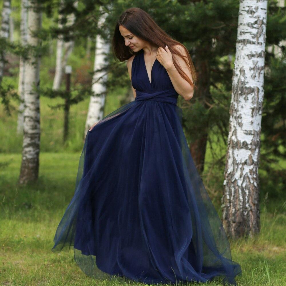 V Neck Tulle Convertible   Bridesmaid     Dress   Custom Made Navy Blue Maxi Boho Infinity Floor Length Sleeveless