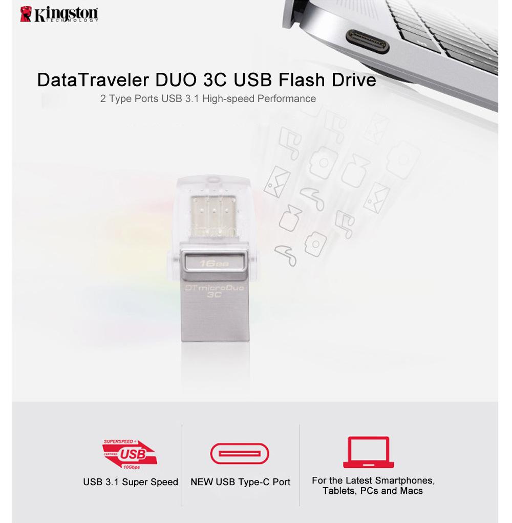 Kingston USB Flash Drive 64GB 32GB 16GB USB 3.1 Type-C Pendrive USB 3.0 Pen Drive Memory Stick for PC  Phone with Type-C Port (11)