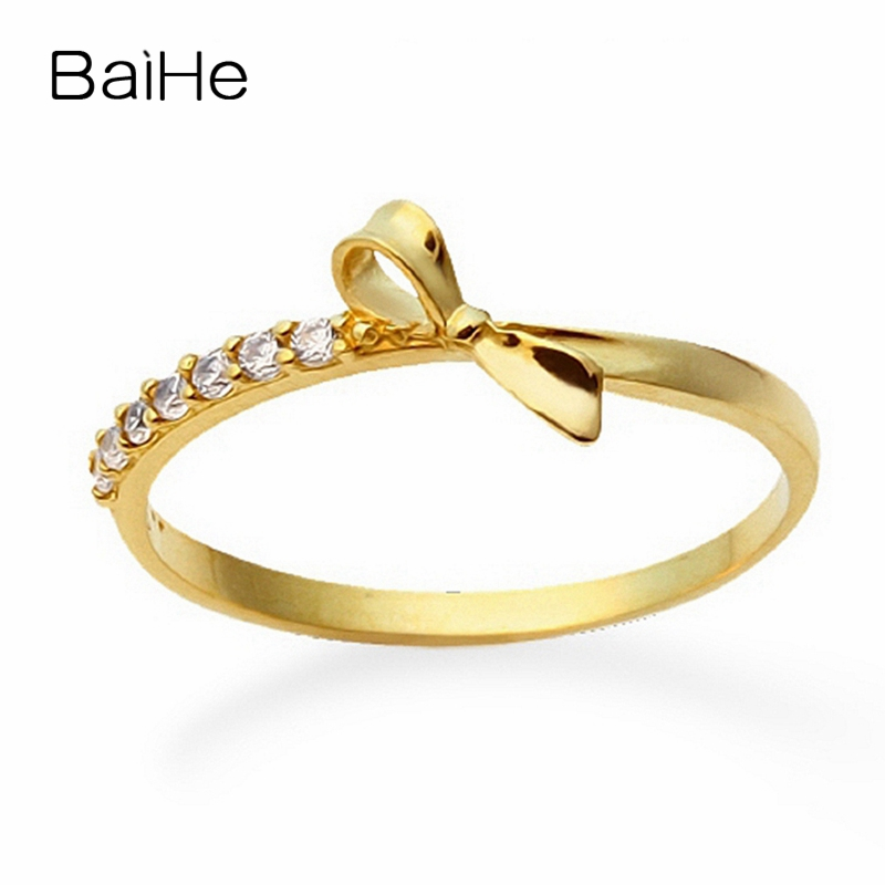 BAIHE Solid 18K Yellow Gold(AU750) Certified 0.07ct Round cut Engagement 100% Genuine Natural Diamonds Women Fine Jewelry Ring baihe solid 18k yellow gold au750 engagement