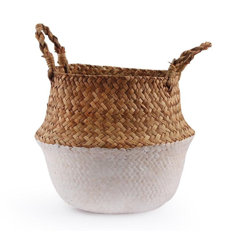 Seagrass Wickerwork Baskets Straw Folding Flower Pot Hanging Garden Planter Woven Laundry Hamper Handmade Storage Basket