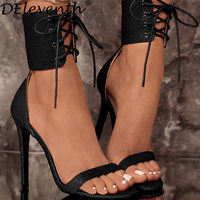 DEleventh Summer High Heels Sandals Sexy Peep Toe Cross Strap Shoes Ladies Elegant Pump Dress Sandalias
