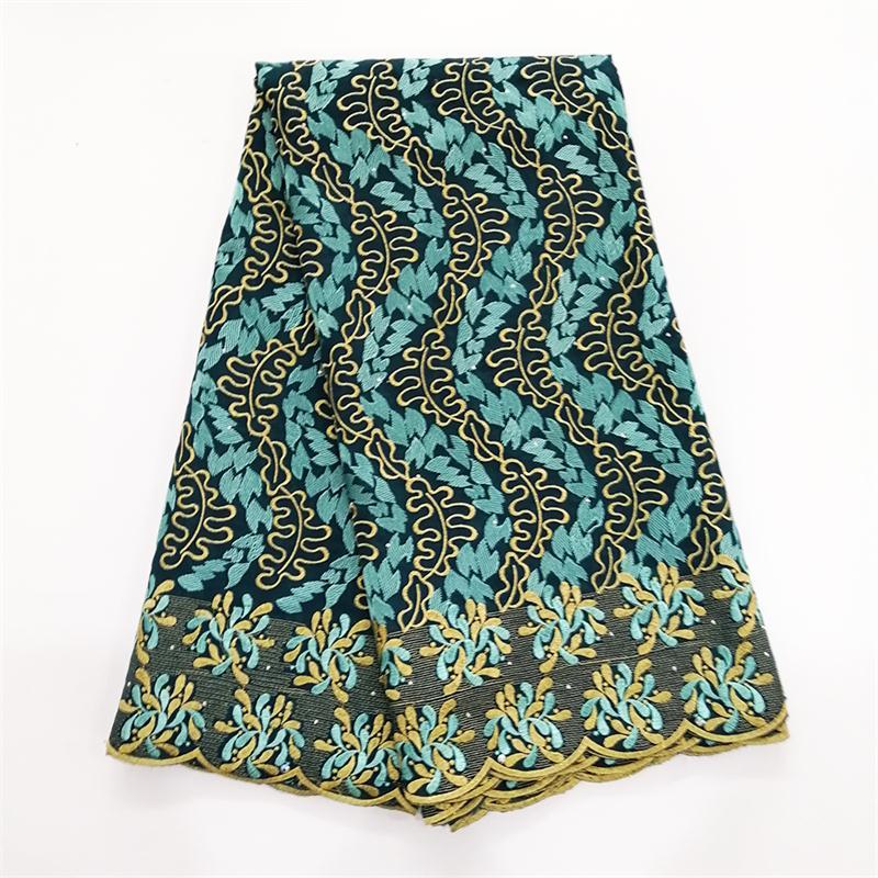 Haute qualité suisse Voile lacets suisse coton africain sec coton dentelle tissu Aqua vert nigérian Voile dentelle 5 mètres