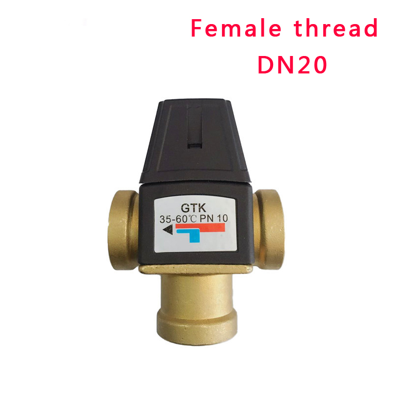 3 Way Brass Female Thread Thermostatic Mixing Valve DN20 DN25 Solar Water Heater Valve 3-Way Thermostatic Mixer Valve 3 way brass thermostatic mixing valve solar water heater valve adjust temperature control valve thermostatic mixer valve