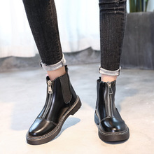 GOXPACER Autumn Winter Martin Boots Shoes Boots Women Ankle Low Heels Front Zip Motorcycle Boots Low Wedges Round Toe Chelsea