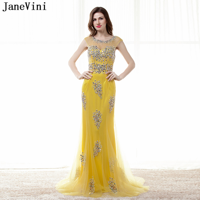 JaneVini Sexy Yellow Long Bridesmaid Dresses Sweep Train 2018 Scoop Neck  Backless Luxury Beaded Crystal Tulle 3fad3ded3b54