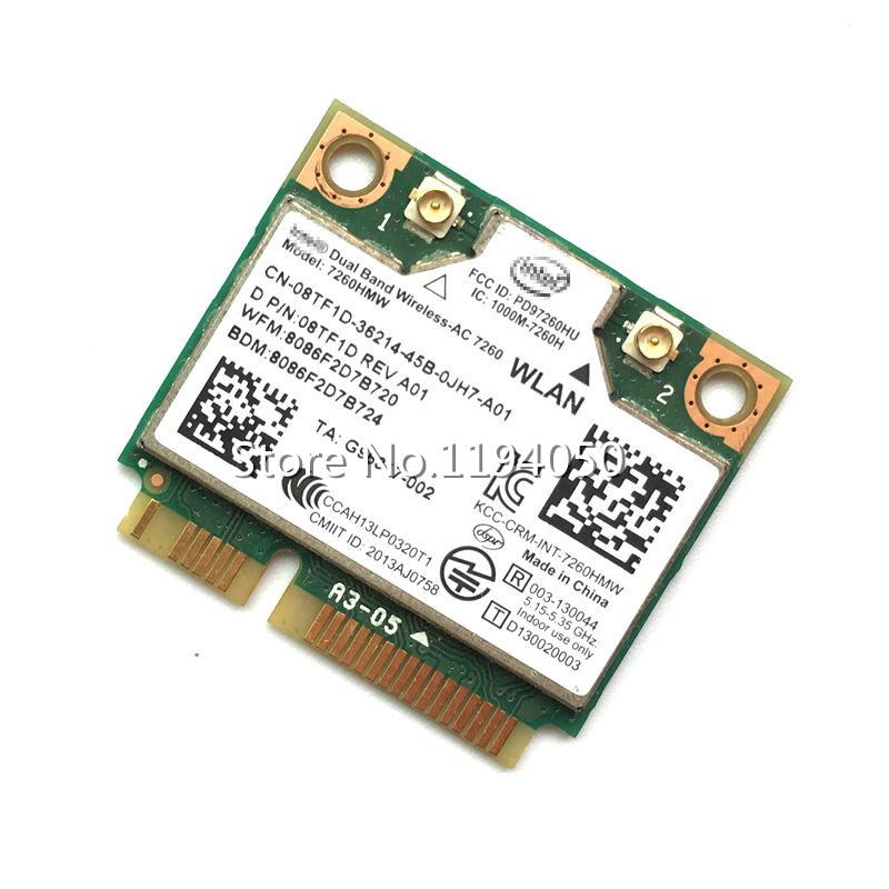 Cartelă originală wireless Carcasă duală Wireless AC 7260 7260HMWAN 867Mbps Half Mini PCI-E 802.11ac 2x2 Wifi Card Bluetooth4.0
