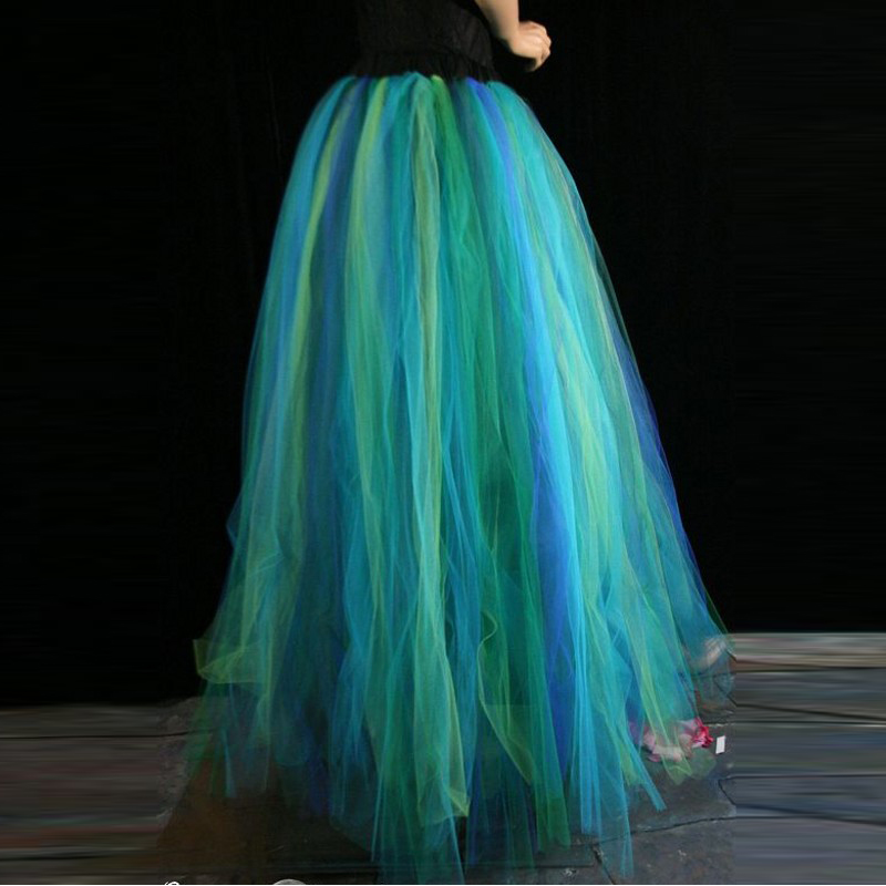 New Design Blue Green Tulle Skirt Custom Made Elastic Waistline A Line Floor Length Long Maxi Skirt Pleated Tutu Skirts