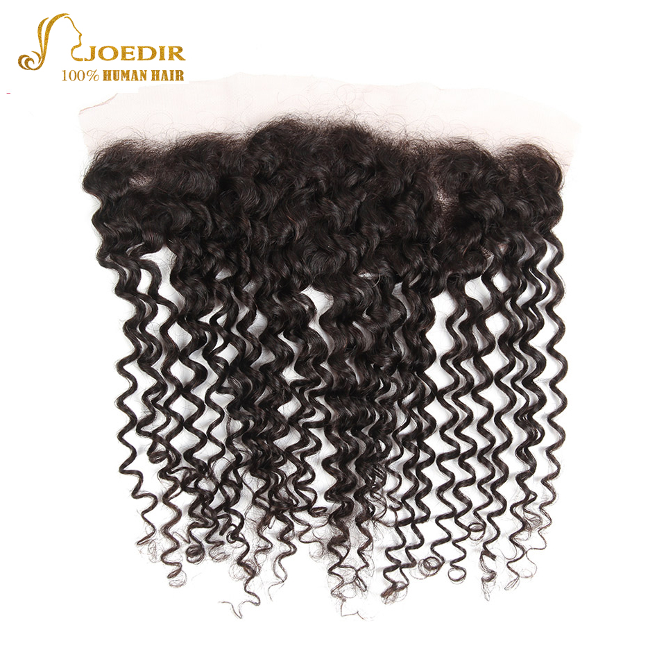Joedir Indian Kinky Curly Full Lace Frontal Closure 13x4 Ear to Ear Free Part Remy Human Hair Closure Natural Color Free Ship