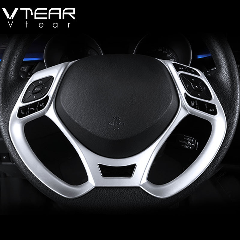 Vtear For Toyota C-HR CHR 2017 2018 Chrom Steering Wheel Button Panel Frame Cover Trim Sticker Interior Mouldings Accessories