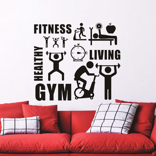 ZOOYOO Fitness GYM Healthy Sports Wall Stickers Home Decor - Removable vinyl wall decals for home decor