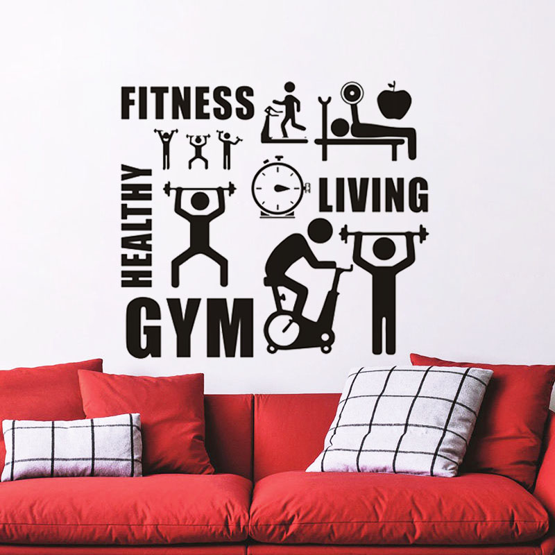 ZOOYOO Fitness GYM Healthy Sports Wall Stickers Home Decor Removable Vinyl Wall Decals Living Room Decoration Murals ...