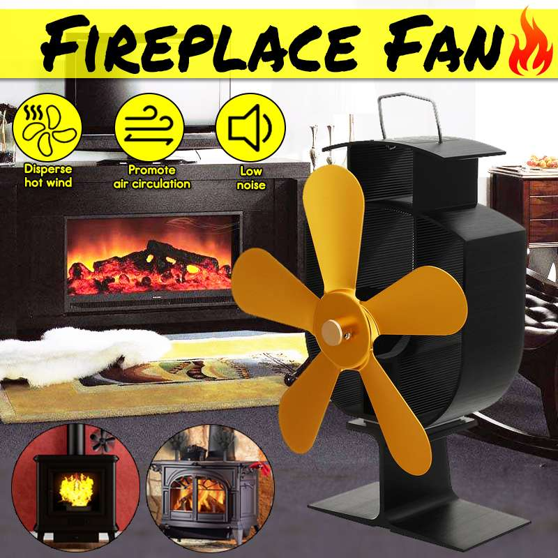 5 Blade Gold Friendly Silent Fireplace Heat Powered Stove Fan Komin Log Wood Burner Eco Fan Home Efficient Heat Distribution