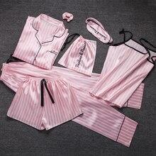 Kawaii ladies Sleepwear 7 Pieces Set Pyjama pink satin silk sexy pajama