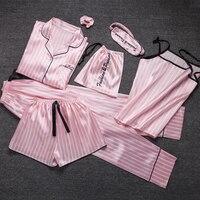 Kawaii ladies Sleepwear 7 Pieces Set Pyjama pink satin silk sexy pajamas Sets soft sweet cute Nightwear gifts home clothing 2019