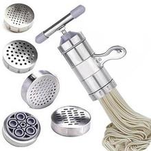Нержавеющая сталь ручной паста машина лапши производитель Паста спагетти пресс машина бытовая пресс-машина с 5 пресс-формы