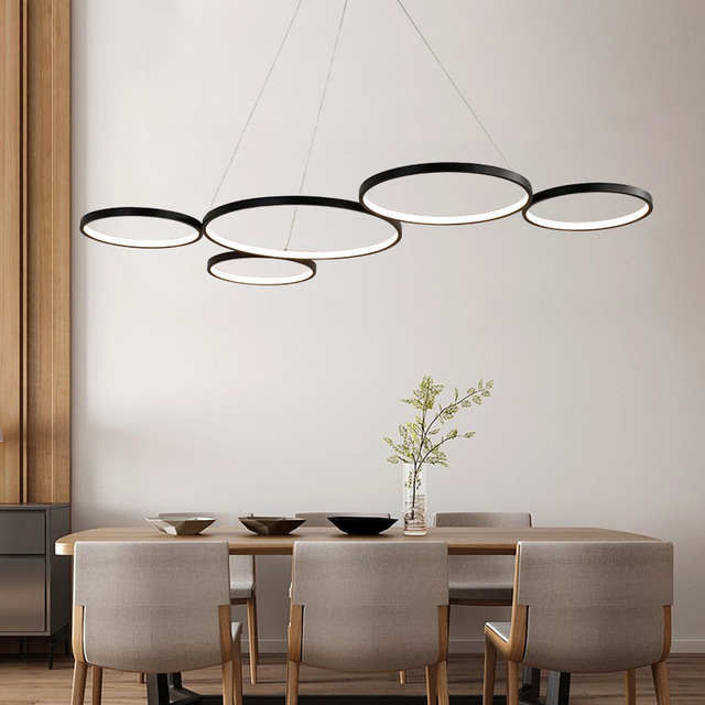 Black/White Modern Led Pendant Chandelier For Dining Kitchen Room Bar Living Room suspension luminaire lustre de plafond moderne