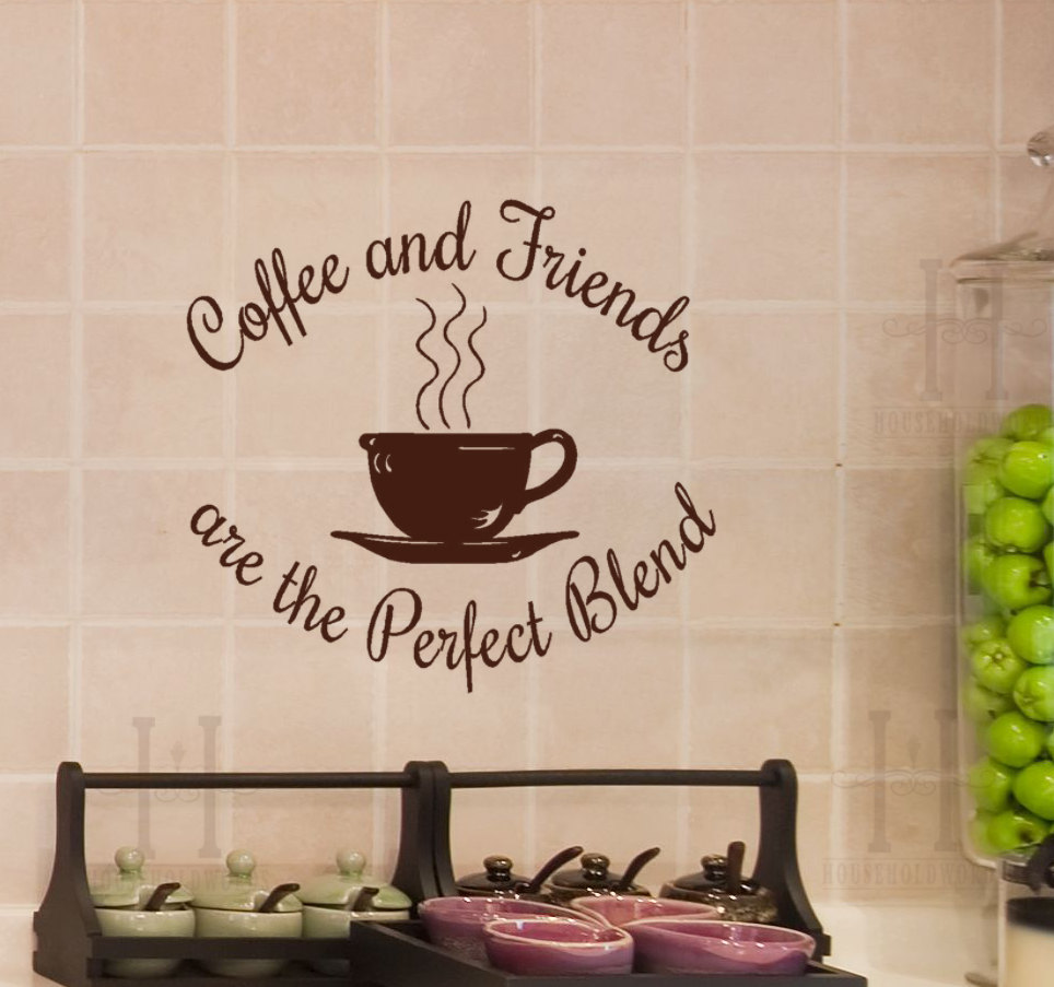 Coffee Shop Wall Decal Windows Vinyl Wall Sticker Quotes Coffee And Friends Are The Perfect Blend