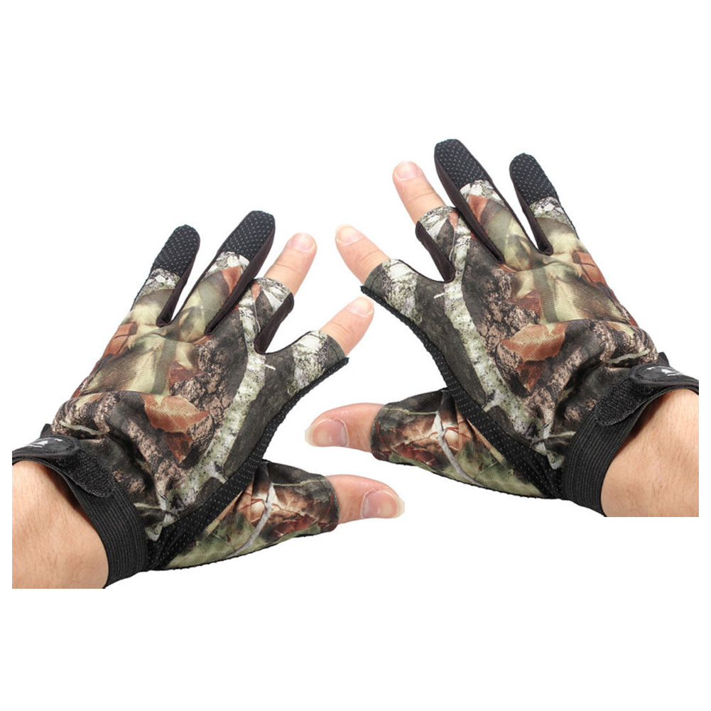 3 Shorter Finger Waterproof Fishing Gloves Hunting Anti-Slip Mitts Shooting Camo цены онлайн