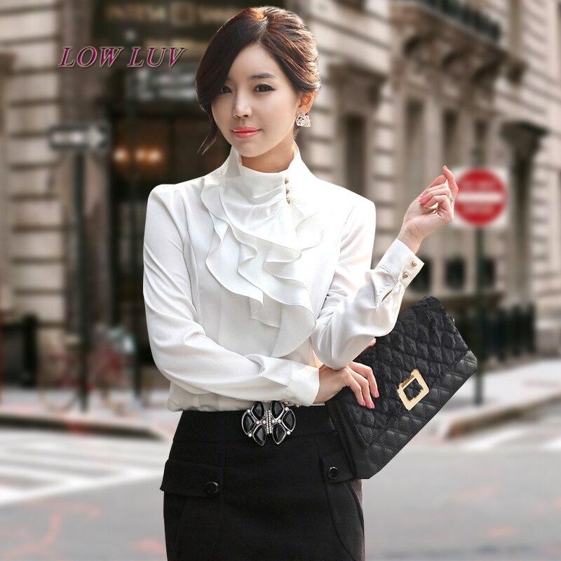 Zhang xiao bai Store spring new ladies shirt Korean version of the collar temperament fashion lotus leaf jacket OL professional long-sleeved shirt