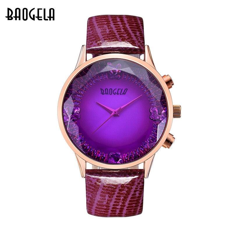 women's leather quartz wrist watches purple red blue band ladies casual waterproof clocks original BAOGELA luxury brand NO.1605 умный браслет teslawatch t band purple
