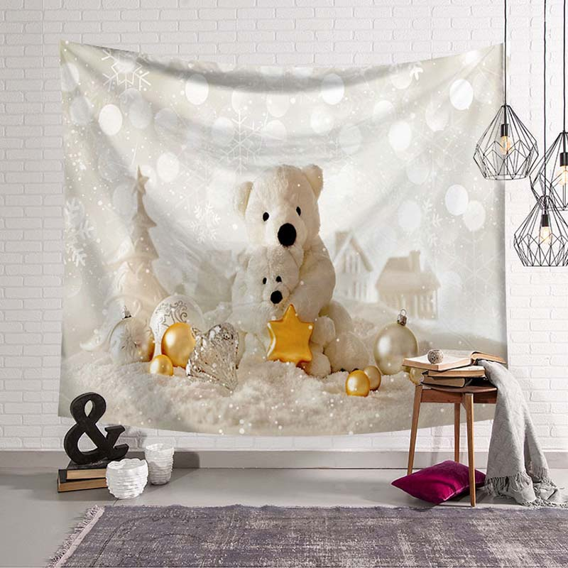 Newest Christmas Eve Decoration Wall Blanket Bear Gifts Pattern Star Lamp Snowman XMAS Wall Hanging Tapestry Bed Sheet Sofa Mat