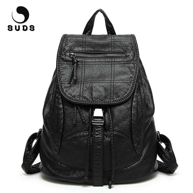 SUDS Brand Backpack Women PU Leather Shoulder Bag High Quality School Bag For Teenage Girls Vintage Soft Leather Travel Backpack