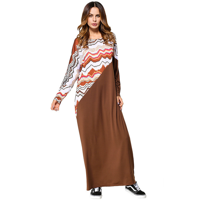 R185427 # Solid Contrast Splice Loose Medium Dresses  Large Size Women's Dress Middle East Musilin Abaya Mujer Vestidos