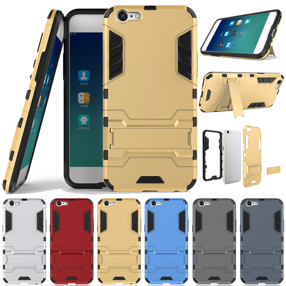 the latest 91733 0ef75 Case For Oppo A57 / A39 Dual Layer Hybrid Armor Case With Back Kickstand  Shockproof Impact Protective Cover For Oppo A57 / A39