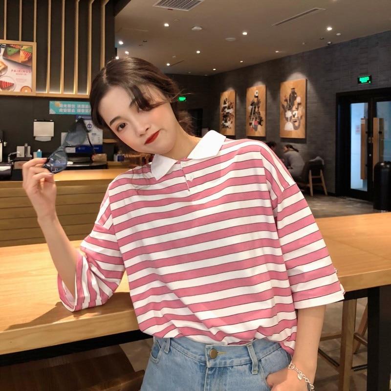 2019 Neue Frauen T Shirt Baumwolle Sommer Gestreiften Harajuku Ullzang Kurzarm Tops Drehen Unten Kragen Koreanischen Stil T Street