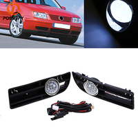 POSSBAY Car Front Bumper Fog Light Assembly Daytime Running Headlight Halogen/LED Foglamp Luces for 1999 2007 VW Bora Jetta MK4