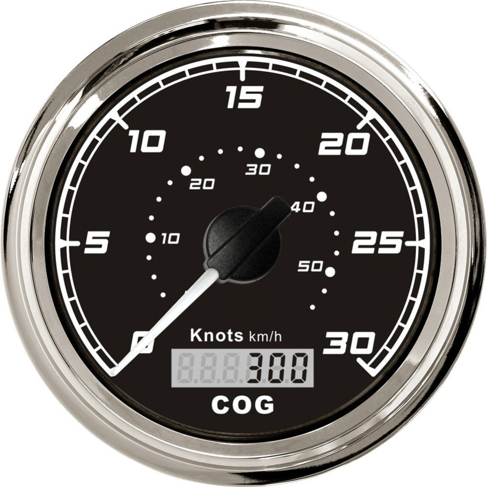 1pc 85mm gps speedometers 0 30knots speed odometers 0 50km/h waterproof cog gauge for boat with GPS antenna black