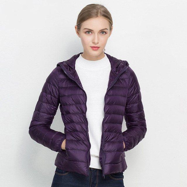 FTLZZ New Women 90% Ultra Light White Duck Down Short Jacket Spring Winter Jackets Puffer Jacket Portable Windproof Down Coat 5