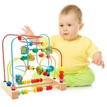 MWZ Деревянный малыш раннего развивающие игрушки круг первую бусинку Coaster Лабиринт для детей