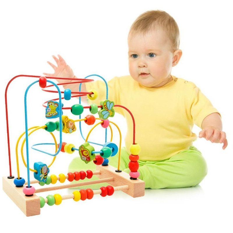 MWZ Wooden Baby Toddler Early Educational Toys Circle First Bead Coaster Maze For Kids Children