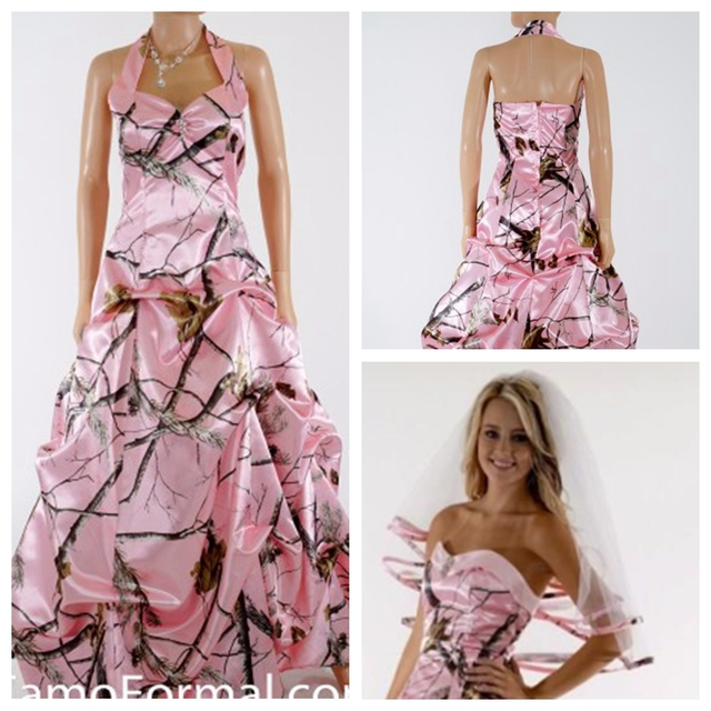 Halter Rosa Camo Hochzeitskleid Drap Rock Benutzerdefinierte ...