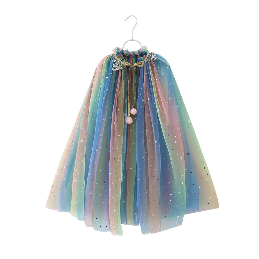 Kids Girls Mesh Sequin Cloak Shiny Cute Princess Sweet Shawl Party Festival Costume in Trench from Mother Kids