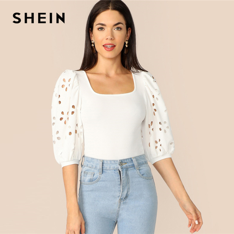 SHEIN Elegant White Laser Cut Lantern Sleeve Fitted Top Scoop Neck Blouse Women Summer 3/4 Length Sleeve Solid Workwear Blouses