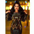 2017 New Wine long Sleeve Strap Gold print Backless Bandage Dress Women Sexy Fashion Party Dresses DR593