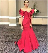 2017 Sexy Meerjungfrau Einzigartige Abendkleid Abendkleid Rot Satin Günstige Lange Prom Kleider Trompete Abschlussball-partei-kleid