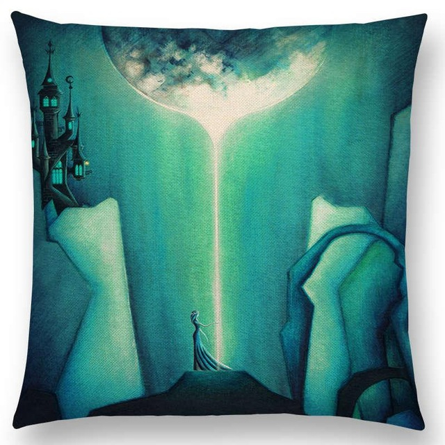 Alice Dreams Cute Cat Cushion Cover Magic Moon Night Wonderland Emerald  Forest Witch Halloween Sofa Throw Pillow Case