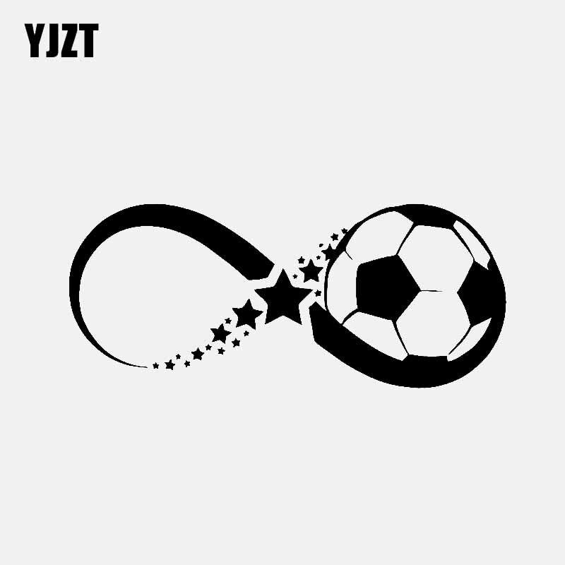 YJZT 14.6CM*6.1CM Star And Soccer Ball Car Sticker Vinyl Decal Love Sport Black/Silver C3-0693