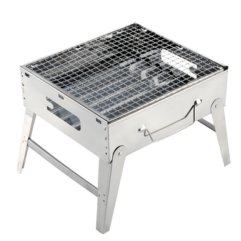 Outdoor Charcoal Grill Household Portable and Folding Thicker Whole Set Barbecue Tools Free Installation Stainless Steel Grill