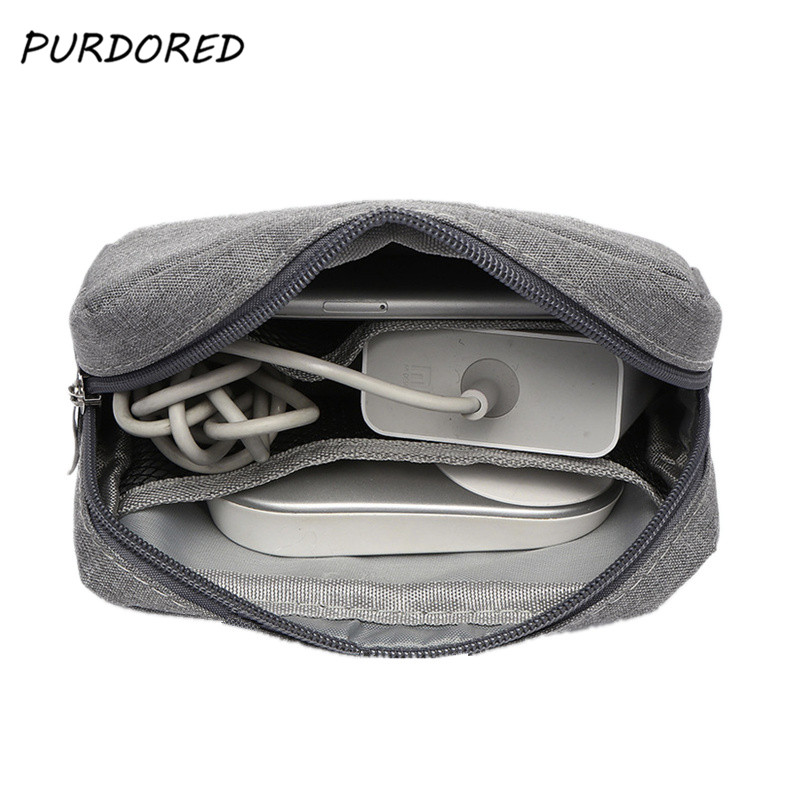 PURDORED 1pc Portable Waterproof USB Cable Earphone Storage Bag Digital Accessories Organizer Bag Unisex Makeup Bag Travel Pouch