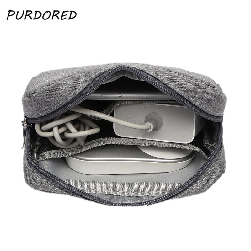 PURDORED 1pc Portable Waterproof USB Cable Earphone Storage Bag Digital Accessories Organizer Bag Unisex Makeup Bag Travel Pouch