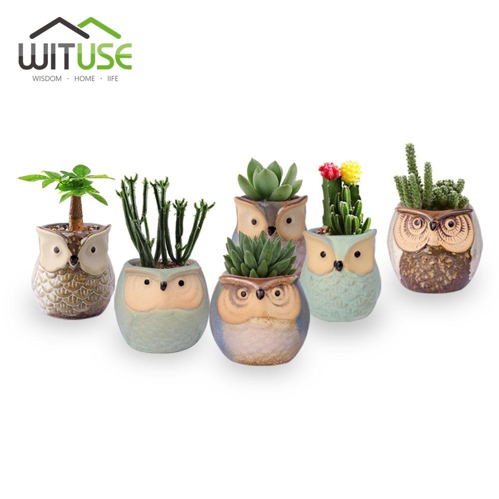 WITUSE 6PCS Ice Crack Glazed Mini Flower Pot Desktop Ceramic Containers Bonsai Cactus Planter Succulent Art Desktop Pot Display