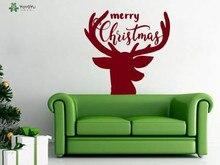 YOYOYU Reindeer Wall Stickers Merry Christmas Vinyl Decal For Kids Room Nursery Interior Home Decor Holiday Art AnimalSY267