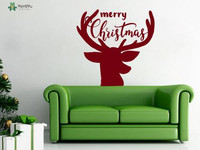 Reindeer Wall Stickers Merry Christmas Vinyl Wall Decal For Kids Rooms Nursery Interior Home Decor Happy
