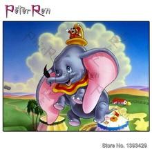 Peter ren Diamond Painting Needlework Full Drill Cartoon Dumbo Elephant Bathing Embroidery Cube Decor Rhinestone Mosaic Diy Gift