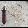 Free Shipping Beautiful jewelry Pansy Crystal Hexagonal Pointed Reiki Chakra Pendant Necklace wich Chain 1Pcs MC3150